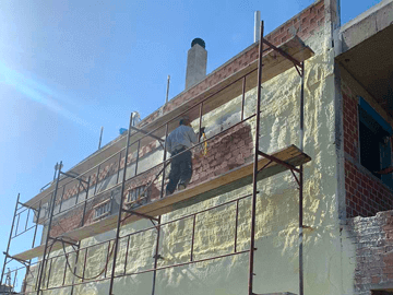 Θερμομόνωση Εξωτερικών Τοίχων 410τμ με spray πολυουρεθάνης - Παλλήνη
