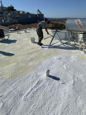 Θερμομόνωση & στεγάνωση ταράτσας 105τμ με spay πολυουρεθάνης - Λαύριο