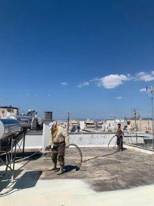 Θερμομόνωση & στεγάνωση ταράτσας 120τμ με spay πολυουρεθάνης - Παγκράτι